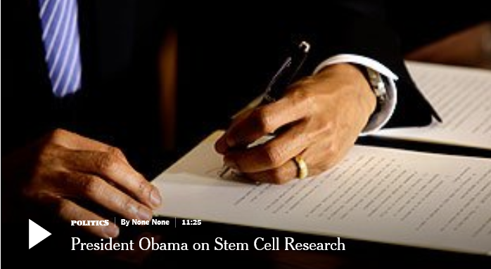 President Barack Obama as he reverses the Bush stem cell restrictions