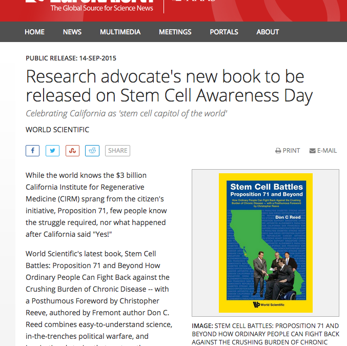 Research advocate's new book to be released on Stem Cell Awareness Day